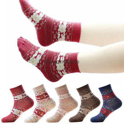 5 Pairs Women Ladies Thick Winter Socks Warm Wool Christmas Nordic Novelty Sock