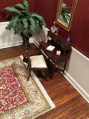 Dollhouse Miniature Artisan Signed Gail Steffey Chair And Desk/dressing Table