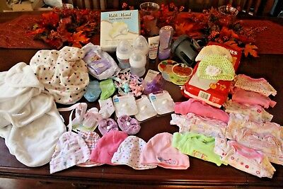 NWT Huge Newborn Baby item Lot...Hats, bottles, pacifiers, diapers, etc. 45 item