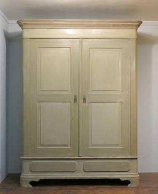 Antique Period Pine Large Double Wardrobe / Original Paint Armoire / Dismantles