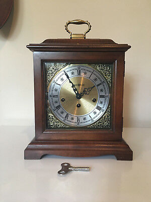 NICE! Vintage HOWARD MILLER Mantel Chime Clock 340-020 2 JEWEL Germany with Key