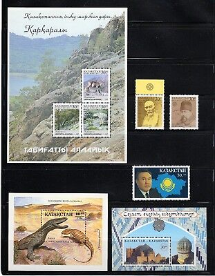 Kazakhstan -- 8 different MNH from 1990s -- includes 3 s/s -- catalog 9.00