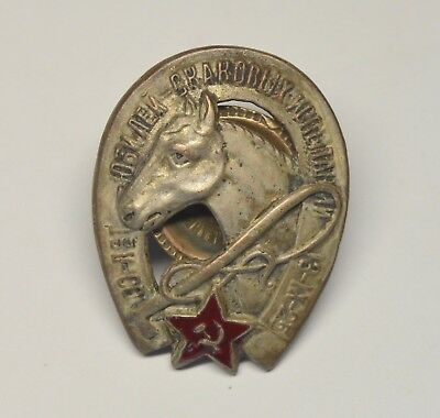 Ussr Russia Horse Division 1925 Pin Badge Silver Plated Army War