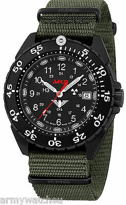 KHS Tactical Watches Swiss Made Ceramic Bezel Trigalight Date Army Strap Olive