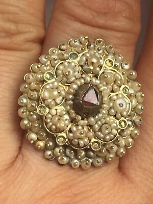 Rare Antique Seed Pearl And Garnet Gold Ring -uk Size N