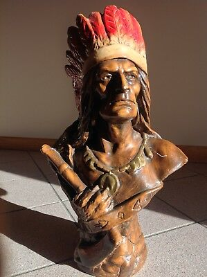 Native American Indian Head Bust Statue