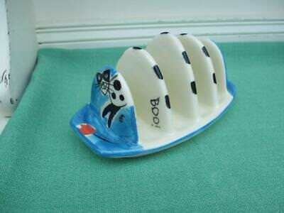 Earthenware Cat with mask TOAST RACK Boo! VGC Signed WHS