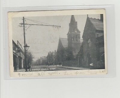Derby Osmaston Road & Baptist Church Postcard Postmarked Radcliffe c1907