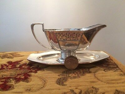 Antique Dutch Silver Art Deco / Secessionist Sauce Boat and Stand Ladle Included