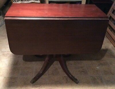 VINTAGE MAHOGANY DROP LEAF TABLE, CLAW FEET, 1950's