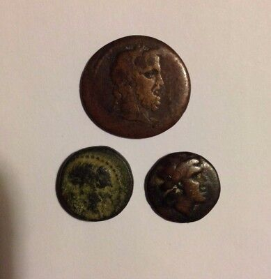 Coins, Three Unknown Ancient Greek AE, Job Lot/Mix/Group Lot
