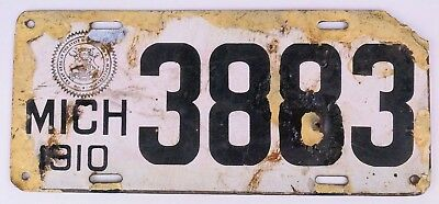 Michigan 1910 porcelain license plate 4 Digits