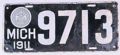 Michigan 1911 porcelain license plate 4 Digits