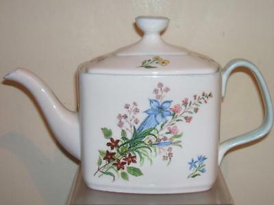 Shelley Style Hand Painted Wild Flowers Cube Teapot
