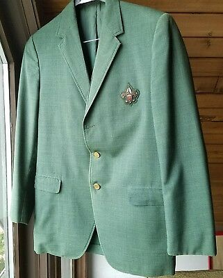 Vintage Boy Scouts Scoutmaster Green Blazer Jacket Coat BSA Patch 39R