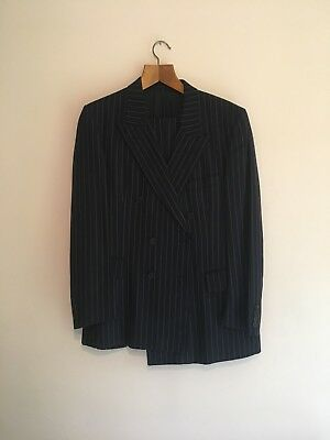 Vintage Navy Gieves & Hawkes Savile Row Pinstripe Two Piece Suit 1980s Size 40