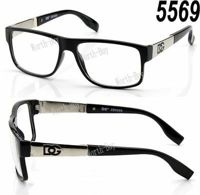 DG Eyewear Clear Lens Frame Glasses Fashion Womens Designer Square Nerd Black