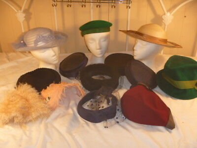 Lot of 13 Vintage Ladies Hats Variable Styles Sizes
