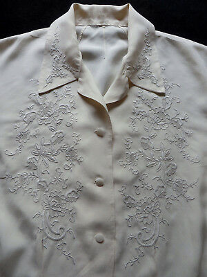 Vintage 1930s/40s Silk Blouse Lovely Hand Embroidery Large size 16/18 Wearable
