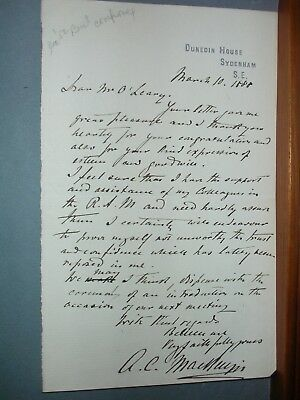Autograph letter from A. C. MacKenzie 1888