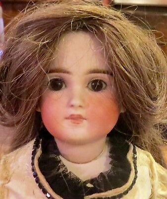 "Antique Perfect German 18"" Closed Mouth #137 Belton Type Bisque Doll w/Orig Wig"
