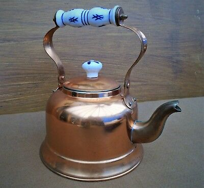 Copper Kettle with Ceramic Handle and Lid Knob and Nickel Lined