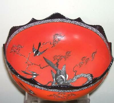 "Carlton Ware W & R Large Magpie Footed Bowl - 10"" Diameter"