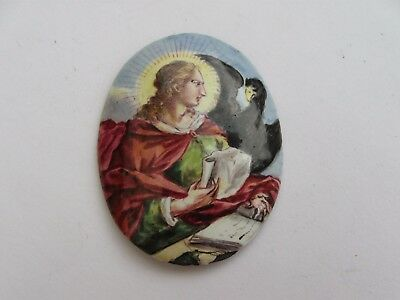 Antique 1700s Georgian painted enamel portrait miniature of saint/crow unset