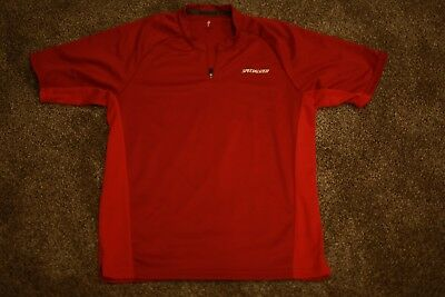 Specialized Mens Red T-shirt Zipper Medium Pre Owned