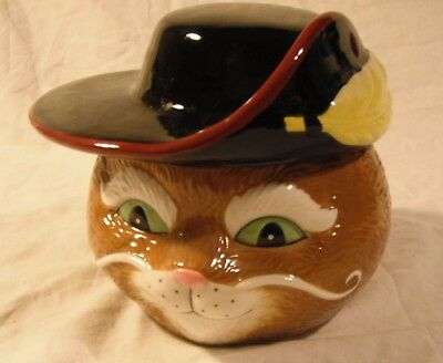 M&M's  Galerie Ceramic Puss in Boots Candy Dish Excellent Condition