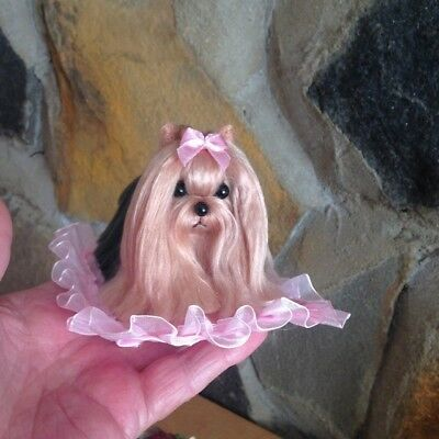 Ooak Needle Felted Yorkshire Terrier Dog*unique Hand Made Wool Sculpture