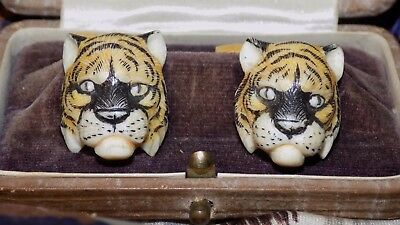 antique TIGER CUFFLINKS Signed SCRIMSHAW carved and painted w/case