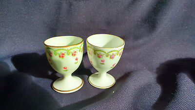2 George Jones Crescent China Egg Cups Rosebuds & Foliage  Made For Harrods