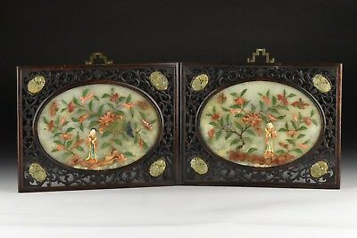 Pair of Antique Chinese Jade Panels With Relief Hardstones Openwork Frames