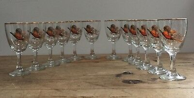 Vintage Gold Rimmed Pheasant Shooting Party Sherry/dram/shot Glasses - Set 12