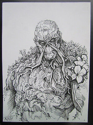 "Mike Rooth Original Art / Sketch  - Swamp Thing 6""x8"" Direct To Ink! No Reserve!"