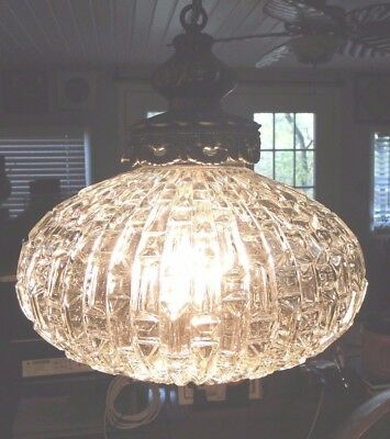 Vtg Mid Century Mod Hanging Glass Globe Dome Swag Lamp Light 12' Chained Cord