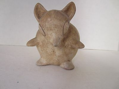 Pre-Columbian Style Mexico Pottery Chihuahua Hairless Dog Vase Vessel Antique