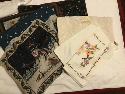 Job Lot Of Christmas and Embroidered Cushion Covers