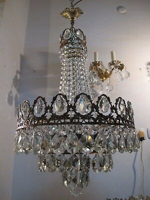 "Antique Vnt French HUGE Basket Style Crystal Chandelier Lamp 1940's 18"" dmtr"
