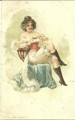 Lady Sitting On Chair Showing Knickers And Smoking C1910 Pw Series 370 #5 P'card