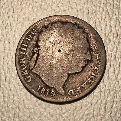 1819 - 9/8 Variety? King George III Silver Sixpence 6 Pence