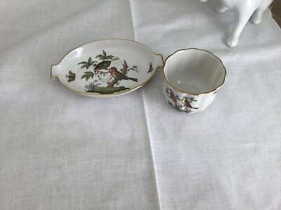 Herend China Rothschild Bird Small spoon rest and small serving cup