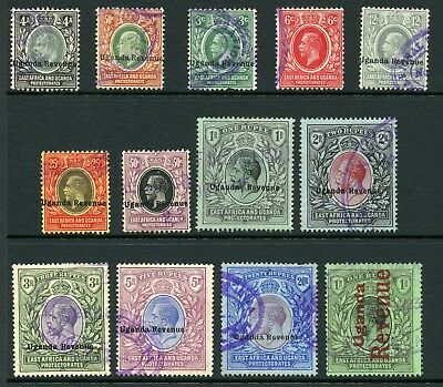 UGANDA REVENUE overprint collection East Africa KUT used set high values to 20r