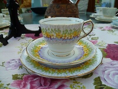 Lovely Vintage Royal Stafford China Trio Tea Cup Saucer Glendale Chintz