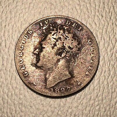 UK, Britain 1827 Sixpence KEY DATE KM 698 English Silver George IV Coin