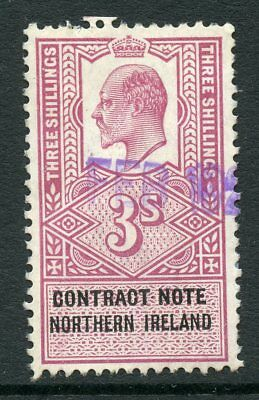 GB Northern Ireland 1910 KEVII REVENUE contract note 3/- Violet & Black USED