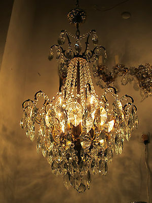 Antique Vnt French HUGE Spider Swarovski Crystal Chandelier 1940s 48cm diamter..
