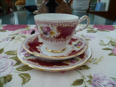 Lovely Vintage St Louis English China Trio Tea Cup Saucer Plate Red Floral