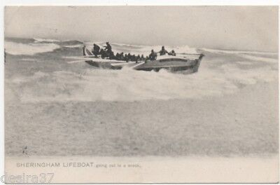Norfolk Postcard Sheringham LIFEBOAT Going Out To A Wreck Posted 1904  No5373